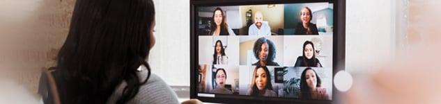 Online meeting stock photo